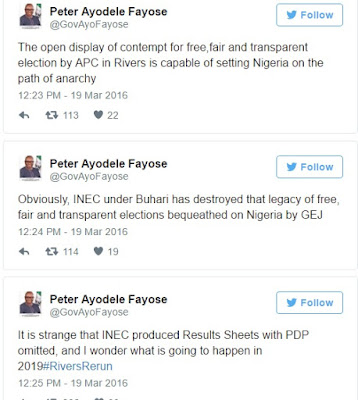 Governor Fayose Attacks Buhari On Twitter, Says He Has Destroyed Jonathan's Free & Fair Election Legacy