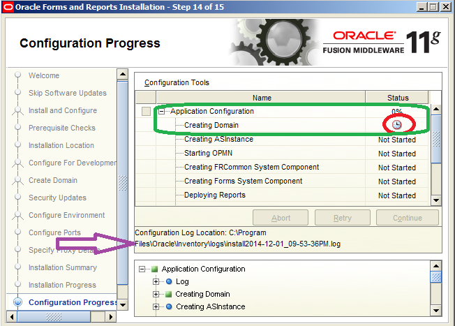 Oracle Application Development: Creating Domain Failed while