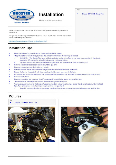 Booster Plug Install Guide: Africa Twin: Accessoire