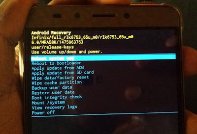 hard reset Infinix Hot 4 X557 - recovery