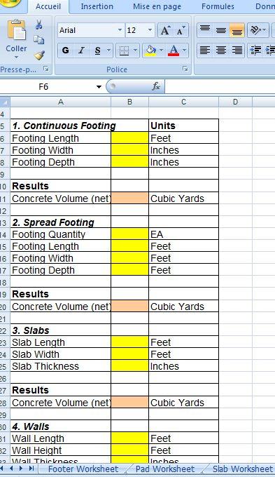 Estimation Of Concrete Worksheets Concrete Estimator