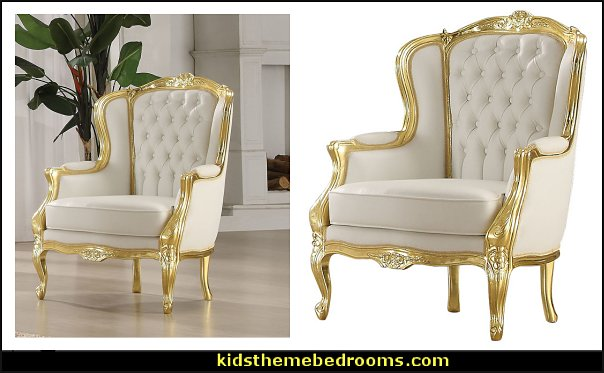 Acme Kassim Accent Chair, Gold Frame and White