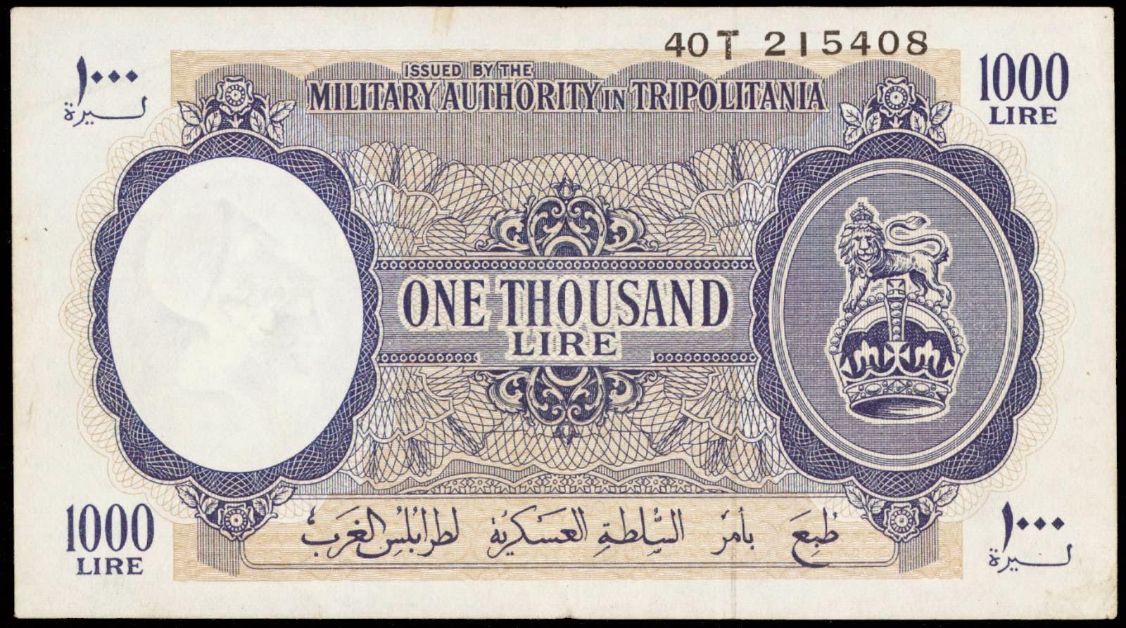 Libya 1000 Lire Note 1943 Military Authority in ... - photo#22