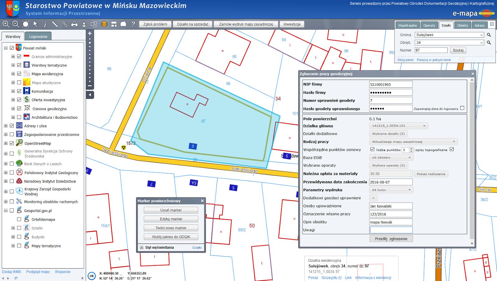 Geo System Sp. z o.o.: Dodatkowy sposób zgłaszanie prac geodezyjnych  #BE970D