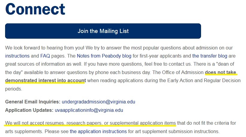 Notes from Peabody The UVA Application Process