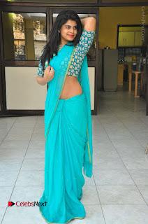 Telugu Actress Alekhya Stills in Green Saree at Swachh Hyderabad Cricket Press Meet  0109.JPG