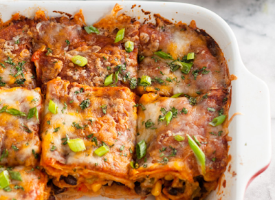 VEGETARIAN BLACK BEAN ENCHILADA CASSEROLE #food