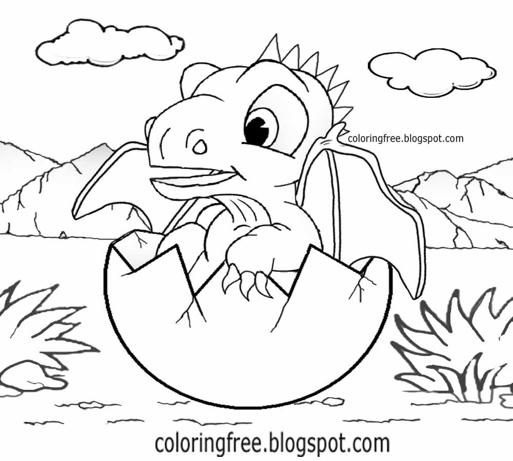 Printable Dragon Coloring For Kids