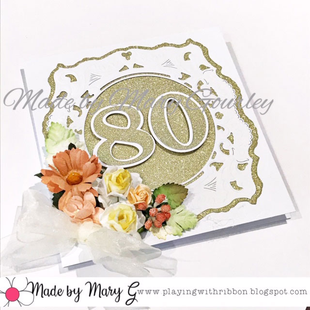 A Gold And White Birthday Card For An 80year Old Lady