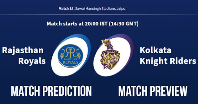 IPL 2018 Match 15 RR vs KKR Match Prediction, Preview and Head to Head Who Will Win