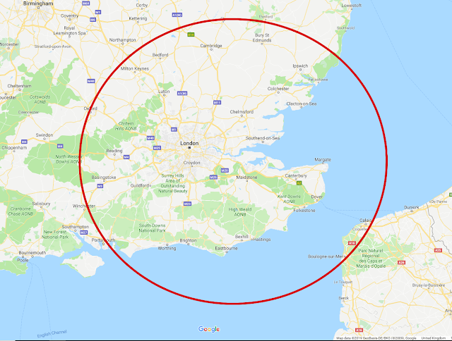"""Example map showing a big red circle around the whole """"catchment area"""" for which distance-based dating apps will show you profiles. The area is completely circular with your handset in the middle."""