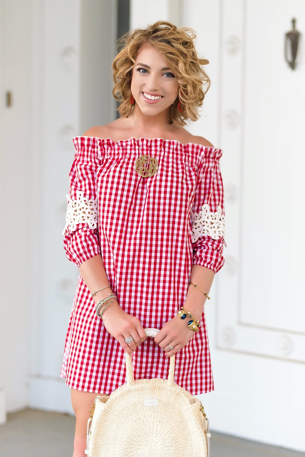 Affordable Red Gingham + Lace Sleeve Dress - Something Delightful Blog