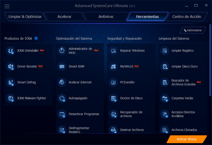 Herramientas Advanced SystemCare Ultimate 10