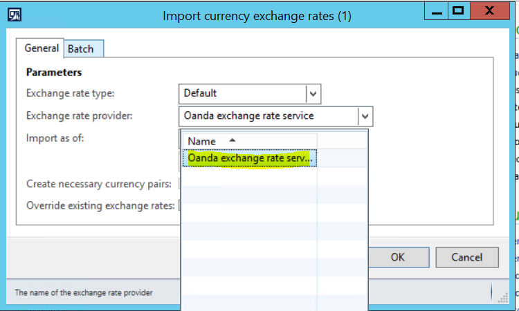 Go To Gl Periodic Import Currency Exchange Rates Select Rate Provide Oanda Service