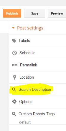 Cara Mengaktifkan Search Description Pada Setiap Artikel Blog