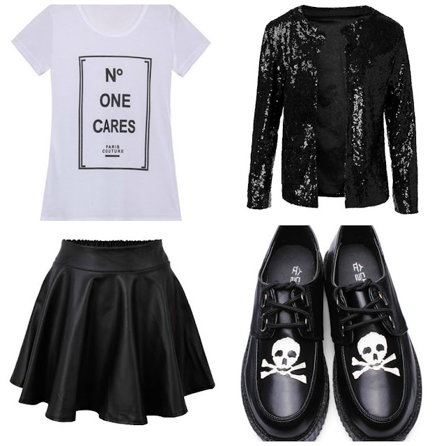 glitter jacket skater skirt skulls creepers alternative outfit festival ideas