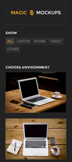 Choose any device (environment) for your mockup, from left sidebar