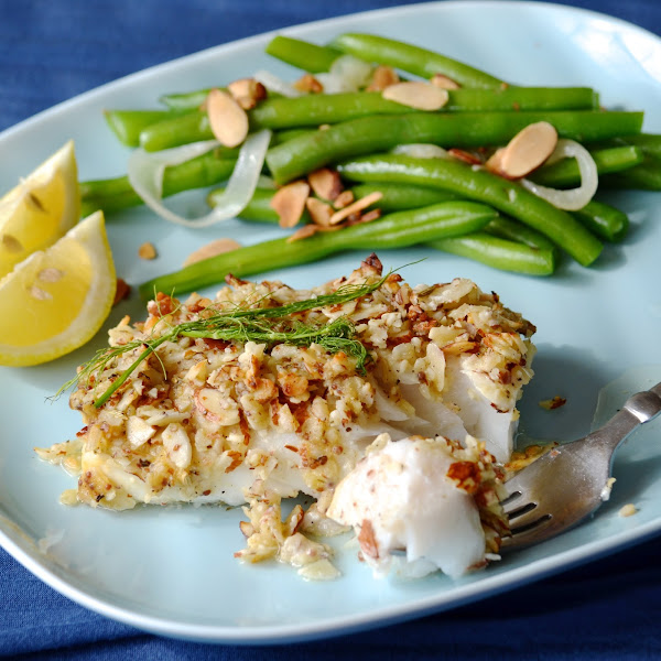 Almond Crusted Cod // Almond Green Beans and Caramelized Onions