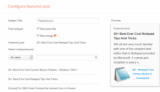 Configure featured post