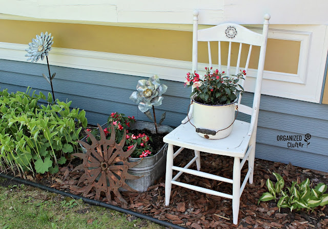 Upcycled Garden Chair and Galvanized Flowers