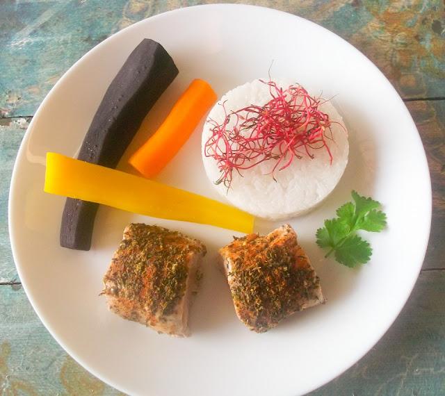 polędwiczki z ryżem i marchewką na parze