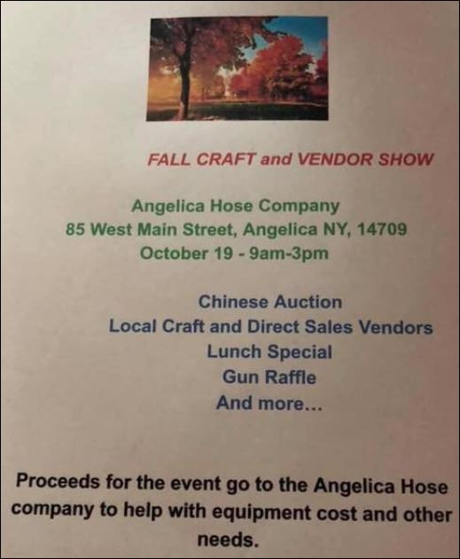 10-19 Fall Craft & Vendor Show, Angelica Hose Co.