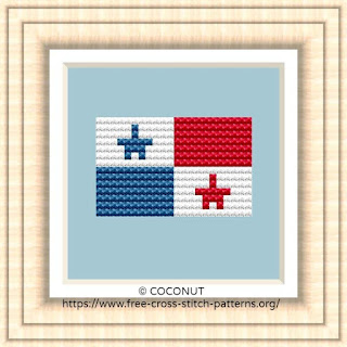 NATIONAL FLAG OF PANAMA CROSS STITCH CHART