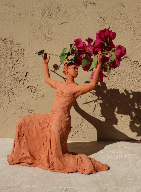 sculpture, terracotta, kneeling, woman, sarah, myers, red, clay, dance, figure, arte, escultura, figurative, classic, human, lady, poise, earthenware, orange, flowers, spontaneous, graceful