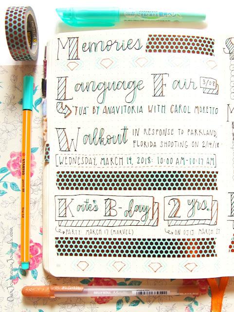 march bullet journal monthly memories spread