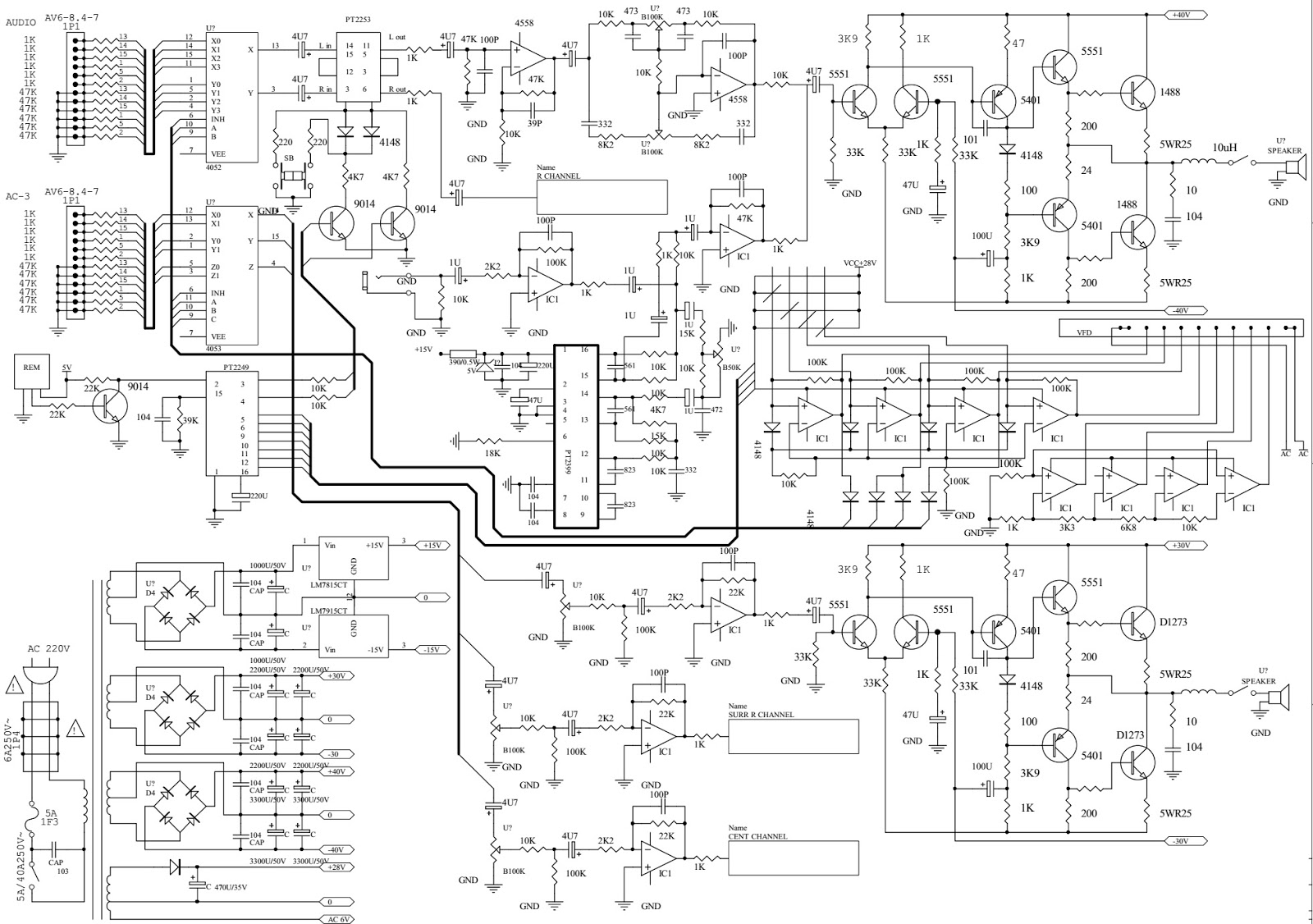 home theater sound system circuit diagram