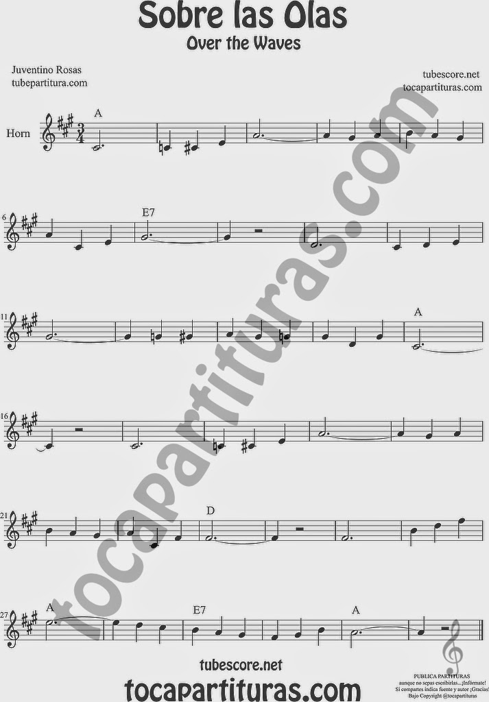 Sobre las Olas Partitura de Violonchelo y Fagot Sheet Music for Cello and Bassoon Music Scores Juventino Rosas Over the Waves Sobre las Olas Partitura de Trompa y Corno Francés en Mi bemol Sheet Music for French Horn Music Scores Juventino Rosas Over the Waves