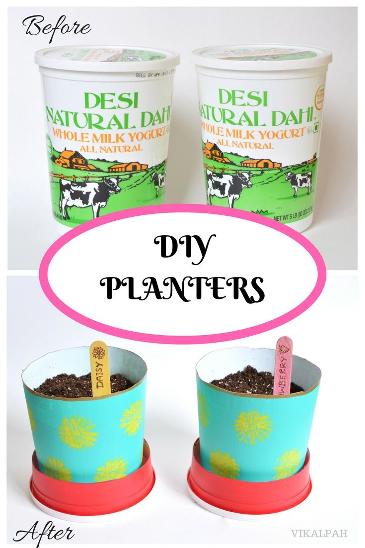 Vikalpah Diy Planters From Yogurt Containers