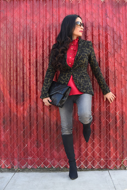 H&M Black and Green animal print blazer Tom Ford Sunglasses Red Ruffle Collar Blouse Grey Paige Skinny Jeans Denim in Silvie  Black stiletto boots Donald J. Pliner vintage black clutch