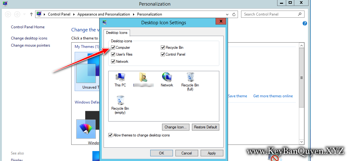 How to show icon my computer to desktop in Windows Server