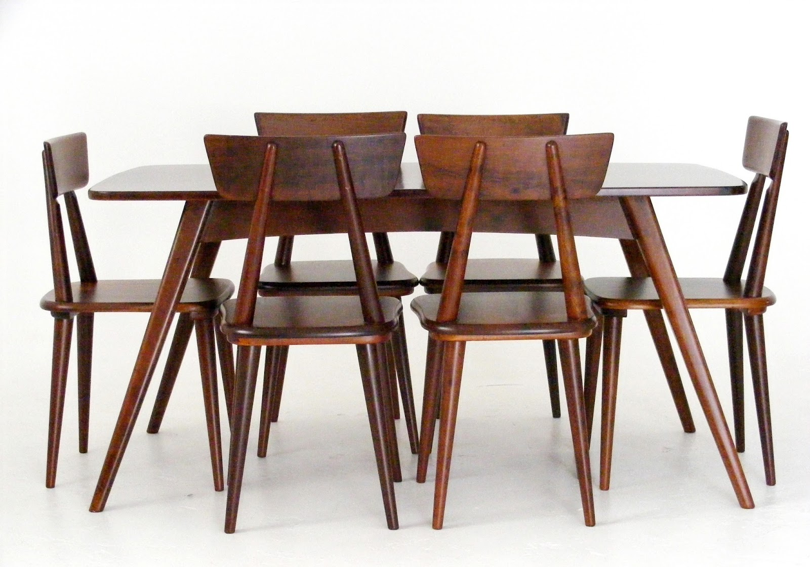 A Set Of 6 Solid Imbuia 1960s Meyer Chairs Designed And Manufactured By EE For Binnehuis Including An 8 Seater Dining Table