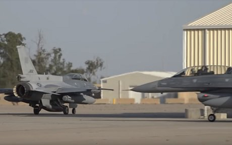 Image Attribute: Iraqi Air Force's newly delivered F-16 fighter jets taxing on Balad Air Base's tarmac, April 6, 2019. / Source: Screengrab from the video released by Iraqi Security Media Center.
