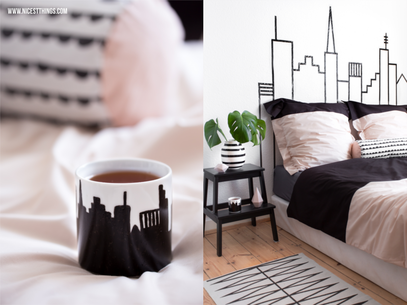 Masking Tape Skyline von New York City als DIY Kopfteil für's Bett