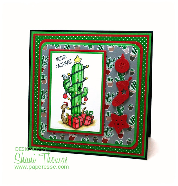 Merry Cact-mas! Christmas card featuring QKR Stampede Christmas Cactus digital stamp, by Paperesse.