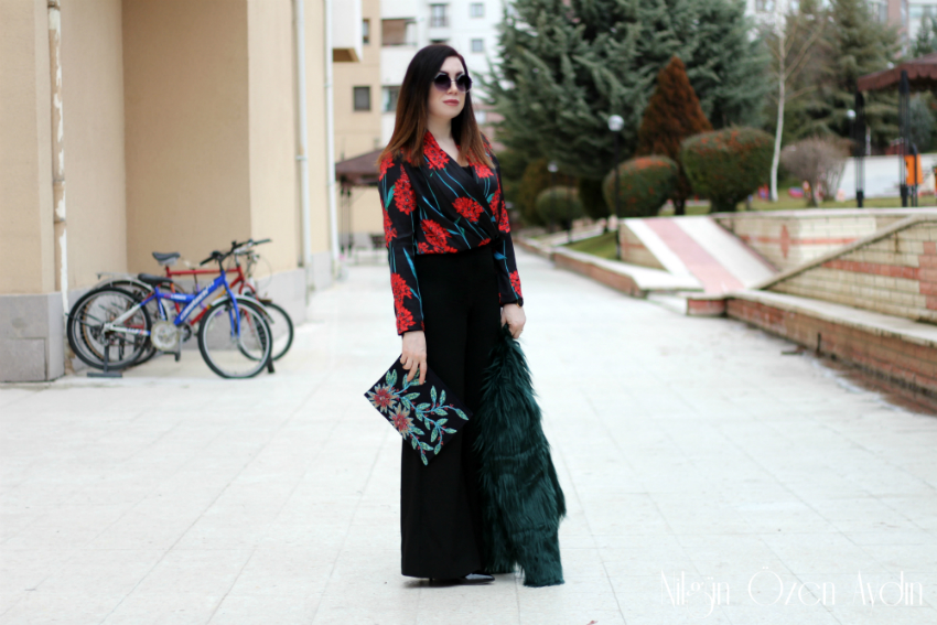 Kruvaze Bluz ve Yeşil Kürk Ceket-moda blogu-fashion blogger