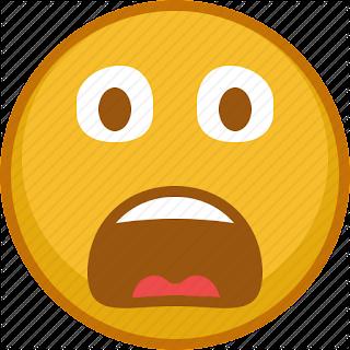 A yellow afraid emoji