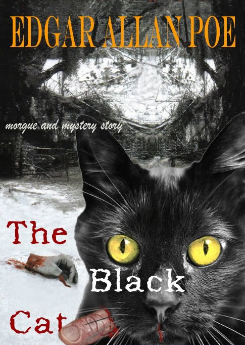 Black Cat with Teacups and Blackbird, Book Print