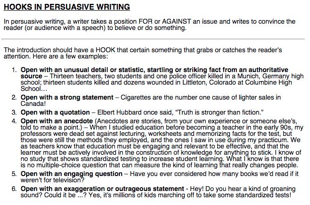 example of hooks for persuasive essays