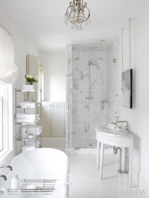 Luxurious white marble bathroom decor! Pamela Pierce's gorgeous home with sophisticated French Country decor and European farmhouse charm on Hello Lovely Studio