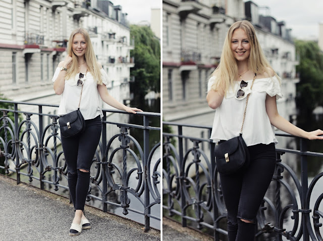 how to style a white off-shoulder-top -black denim-hamburg-outfit