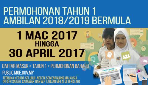 Permohonan Online Murid Tahun 1 Semenanjung Malaysia 2018/ 2019