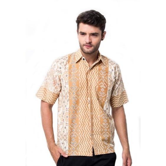 Model Baju Batik Pria Kombinasi Kain Polos Modern Galeri Batik Terbaru