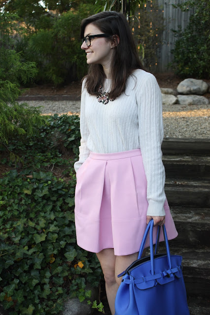 pink skirt, tailor, sweater, fall clothes, transitional outfits