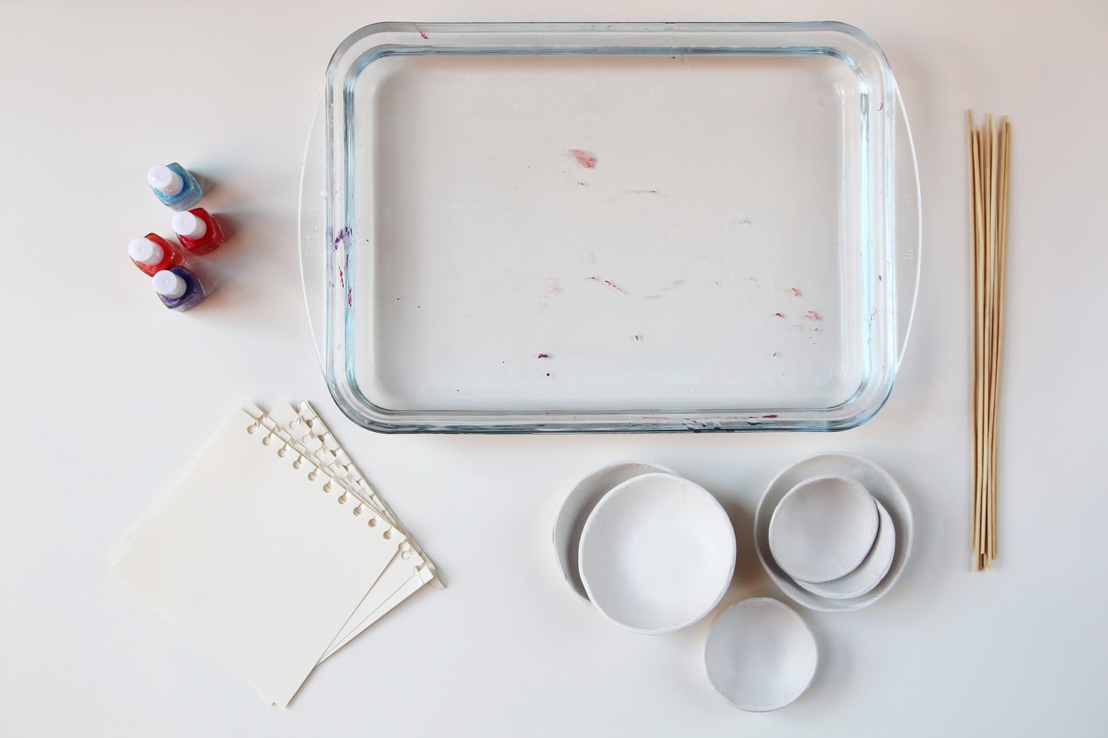 Things you'll need to marble with nail varnish.