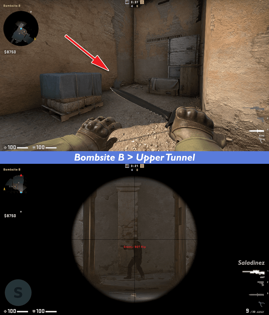 Bombsite B > Upper Tunnel