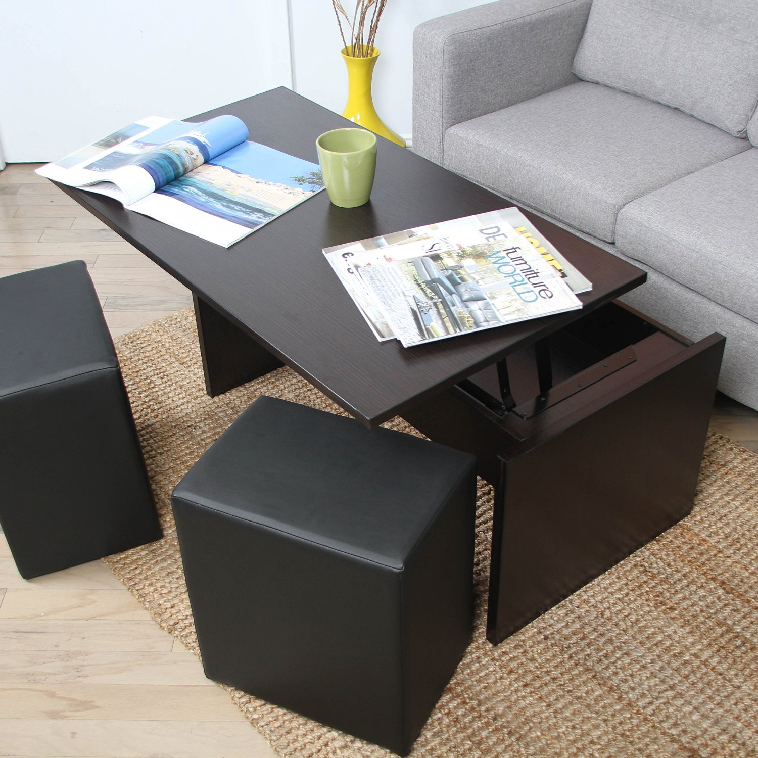Form Function Tail And Coffee Tables With Ottomans Underneath